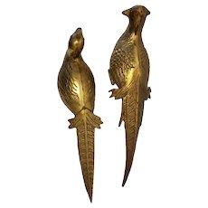 Vintage Brass Birds Ruby Eyes Old Pheasants Statue Sculpture Jeweled Eyes Metal Art