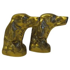 Vintage Solid Brass Hunting Dog Retrievers Bookends