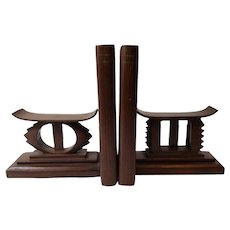 Vintage African Neck Rest Bookends Mid Century Wood Books ends
