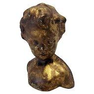 Mid Century Plaster Bust Vintage Donetello 1960's Little Boy Cherub