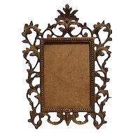 Vintage Rococo Brass Bronze Picture Frame French Cast Metal Easel Display