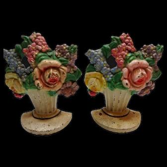 Vintage Cast Metal Hubley Bookends Basket of Flowers Doorstop
