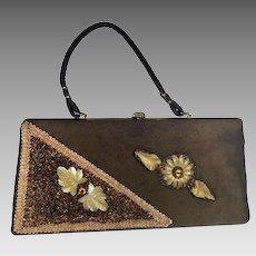 Vintage 1950's Suede Clutch Handbag Metal Jewels Jeweled Brown Mid Century