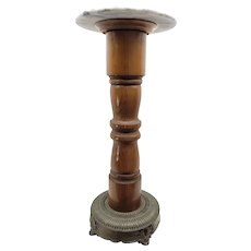 Vintage Fern or Plant Stand Wood Column Table Marble Top