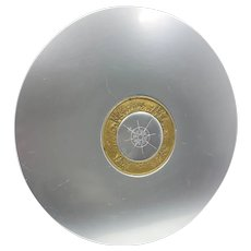 Vintage Kensington Art Deco Aluminum & Brass Sundial Compass Disk Platter
