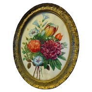 Vintage Oval Botanical Prints T L Prevost Original Wood Frame Flower Wall Art