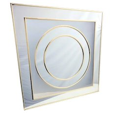 Mid Century Modern  Sharon Art Concept Wall Hanging Mirror Gold Chrome Circle in Glass Pop Art