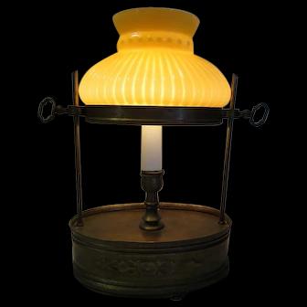 Vintage Italian Brass Adjustable Candle Stick Boudoir Bedside Dresser Vanity Lamp Oval Glass Shade