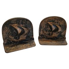 Vintage Cast Iron Metal Pirate Ship Bookends Office Decor