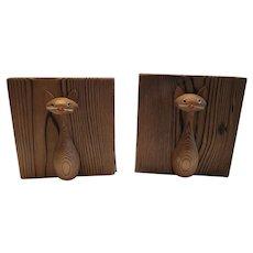 Mid Century Modern Witco Cat Bookends Vintage Wood Siamese's Tiki Bar Decor