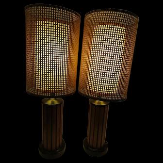 Pr Small Mid Century Modern Table Lamps Original Vintage Fiberglass Rattan Shades