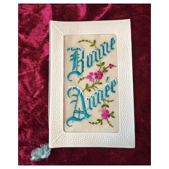 "French embroidered ""Bonne année"" postcard 1920's (Happy New Year postcard)"