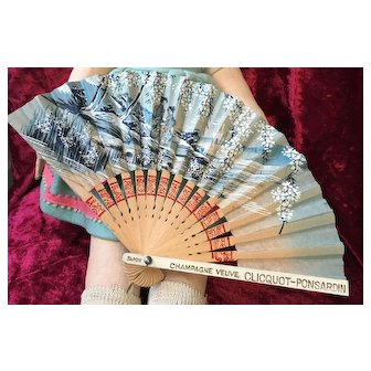 French Advertising paper fan for the very well-known champagne Veuve Cliquot  company