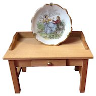 French old miniature porcelain Limoges plate and its stand- Doll size!
