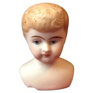 Antique German Bisque Boy Doll Head Closed Mouth Molded Hair mold 285