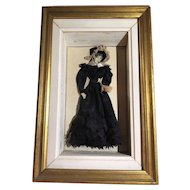 """French antique Fashion Plate Shadow Box with Dress Figure """"Le Costume Parisien"""""""