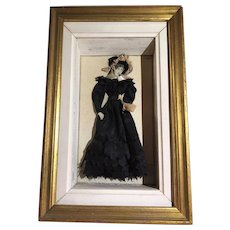 "French antique Fashion Plate Shadow Box with Dress Figure ""Le Costume Parisien"""