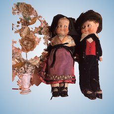 Rare pair of antique German Wagner & Zeztsche googlie type Haralit art dolls 1916