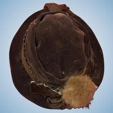 Antique French factory brown velvet doll hat