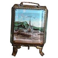 """Antique French Eglomise souvenir Pocket watch casket, box: """" Souvenir de Lourdes"""""""