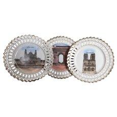 Set of 3 Antique French Souvenir plates of Paris 1900