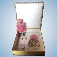 Lovely German S & H all bisque doll 890 size 1 1/2 for La Poupée Modèle magazine in an old presentation box