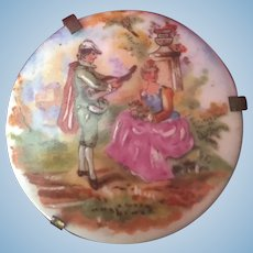 French old miniature porcelain Limoges painting and its stand- Doll size!