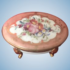 French old small porcelain hand painted Limoges box- Doll size!