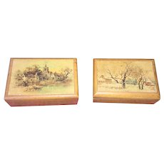 Lovely pair of old French wooden boxes ornate with landscapes