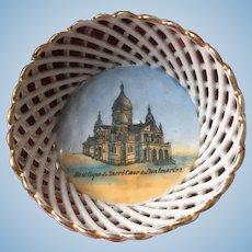 Antique French porcelain Souvenir basket of Paris 1900- Sacré Coeur Montmartre-