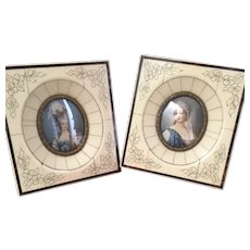 """Pair of French """"ivoirine"""" or bakelite frames with lovely small painting portraits 1900 Last chance!"""