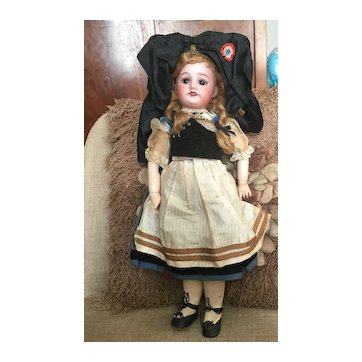 Lovely all original French antique SFBJ  mold 60 doll in an alsatian costume