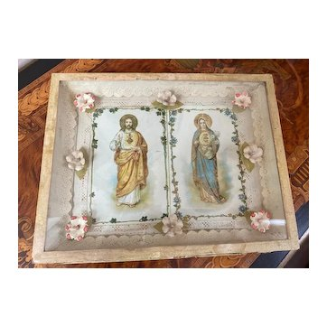 Antique French framed religious Jesus and Virgin Mary paper postcards 1900