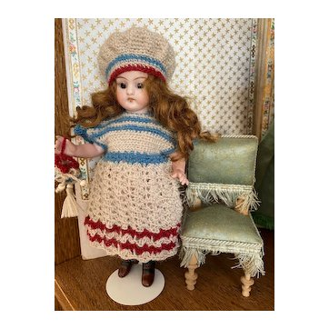 """Very lovely 3-Piece French woolen Dress  """"French Flag colors"""" for All Bisque Doll!"""