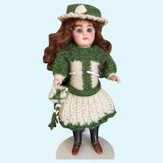 Very lovely 3-Pieces French woolen Dress  for All Bisque Doll!