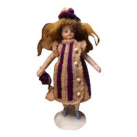 Very lovely 3-Piece French woolen Dress for French All Bisque Doll size 1