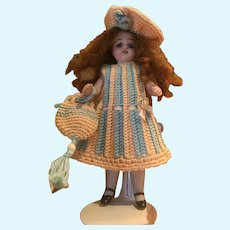 Very cute 3-Piece French Crochet Dress for All Bisque Doll size 4 3/4""