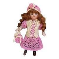 Very lovely 3-Piece French Crochet Dress for All Bisque Doll size 1