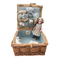 Lovely antique German all bisque doll Simon & Halbig size 0 with her trousseau!