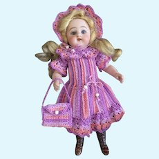 Very lovely 3-Piece French Crochet Dress for All Bisque Doll size 3
