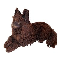 Rare French paper mache pajama dog covered with brown lamb fur