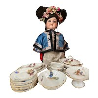 Unusual French porcelain dinner service with japanese scenes for your dolly (special price)