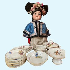 Unusual French porcelain dinner service with japanese scenes for your dolly!