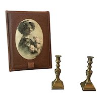 Pair of little brass candle holders for your French poupée!