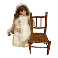 Cute antique wooden doll chair Faux bamboo painting imitation (last chance)