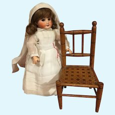 Cute antique wooden doll chair Faux bamboo painting imitation