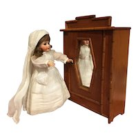 Lovely antique wooden doll wardrobe faux bamboo painting imitation (last chance)