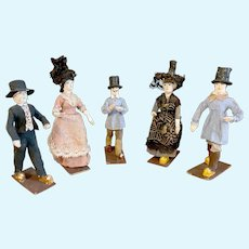 Unusual set of 5 miniature French papier mache characters circa 1880