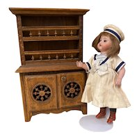 Antique Miniature French Brittany wooden Doll Cabinet