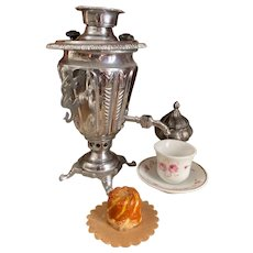 Uncommon doll size silver plated Russian Samovar tea pot for French poupée